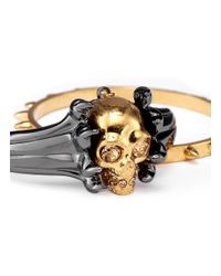 Alexander McQueen - Metallic Claw And Skull Double Cuff - Lyst