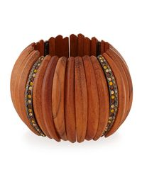 Kenneth Jay Lane - Brown Embellished Wooden Bracelet W/crystals - Lyst