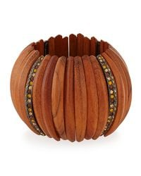Kenneth Jay Lane | Metallic Embellished Wooden Bracelet W/crystals | Lyst