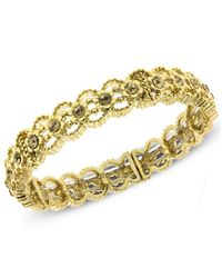 2028 - Metallic Gold-tone Glass Crystal Stretch Bangle Bracelet - Lyst