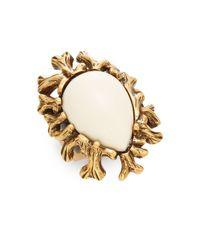 Oscar de la Renta | White Coral Branch Ring/goldtone | Lyst