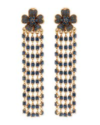 Oscar de la Renta - Blue Flower Drop Earrings With Crystal Fringe - Lyst