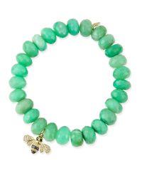 Sydney Evan | Green Chrysoprase Beaded Bracelet With Diamond Bee Charm | Lyst