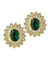 Kenneth Jay Lane | Green Gold And Crystal Setting Emerald Stone Center Clip Earring | Lyst