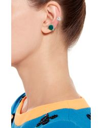 Runa - Metallic White Crystal And Agate Earring Cuff - Lyst