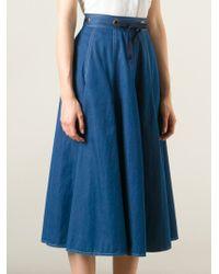Guy Laroche - Blue Pleated Denim Skirt - Lyst