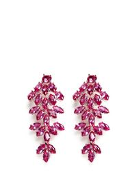 CZ by Kenneth Jay Lane | Pink Cubic Zirconia Leaf Drop Marquise Cut Clip Earrings | Lyst