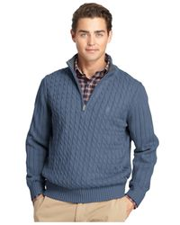 Izod | Blue Big And Tall Cable-knit Quarter-zip Sweater for Men | Lyst