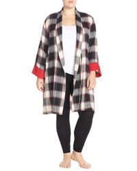 Lucky Brand | Black Flannel Robe | Lyst
