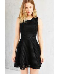 Silence + Noise - Black Shadow-stripe Skater Dress - Lyst