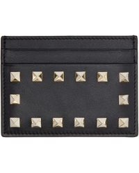 Valentino | Black Leather Rockstud Card Holder | Lyst