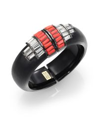 Alexis Bittar - Black Cubist Lucite & Crystal Deco Punk Baguette Barrel Bangle Bracelet - Lyst