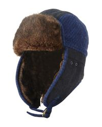 Original Penguin - Blue Quilted Melton Wool & Faux Fur Trapper Hat for Men - Lyst