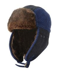 Original Penguin | Blue Quilted Melton Wool & Faux Fur Trapper Hat for Men | Lyst