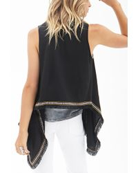 Forever 21 - Black Embroidered Southwestern Vest - Lyst