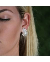 Jordan Alexander | White Fresh Water Baroque Pearl Studs | Lyst