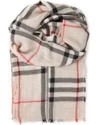 Burberry - Natural Checked Scarf - Lyst