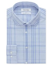 Calvin Klein - Steel Non-iron Slim-fit Ultra Blue Check Performance Dress Shirt for Men - Lyst
