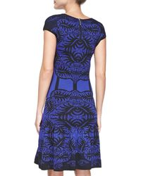 Nicole Miller Artelier | Blue Cap-sleeve Baroque & Corset-print Dress | Lyst