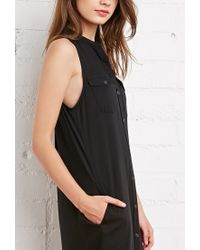 Forever 21 - Black Buttoned Midi Dress - Lyst