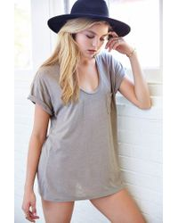 Truly Madly Deeply | Gray Scoopneck Slouch Pocket Tee | Lyst