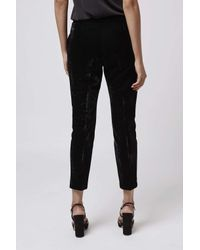 TOPSHOP   Black Premium Velvet Cigarette Trousers   Lyst