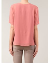 Vince - Red Sheer Overlay Blouse - Lyst