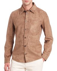 Ferragamo - Brown Suede Sportshirt for Men - Lyst