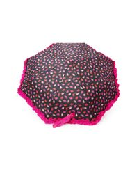 Forever 21 Black Betsey Johnson Leaf Print Ruffled Umbrella