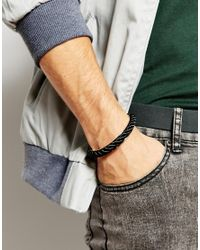 ASOS - Metal And Paracord Bracelet In Black for Men - Lyst