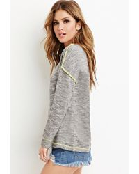 Forever 21 - Gray Topstitched Marled Knit Jumper - Lyst