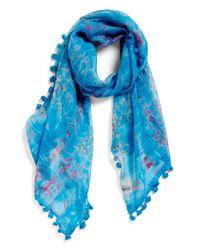 La Fiorentina | Blue Tie Dye Silk & Cotton Scarf | Lyst