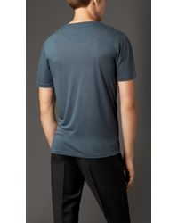 Burberry | Blue Technical Modal Blend T-shirt for Men | Lyst