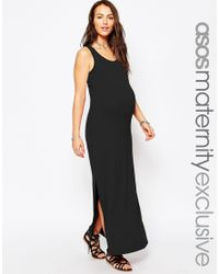ASOS | Black Sleeveless Maxi Dress With Split Side | Lyst