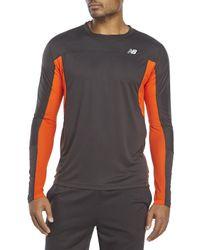 New Balance - Gray Running Impact Long Sleeve Shirt for Men - Lyst