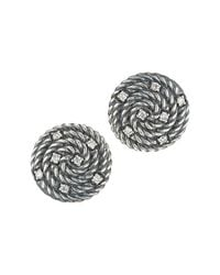 David Yurman - Metallic Pre-Owned: Sterling Silver 14Mm Cable Coil Button Earrings With Diamonds - Lyst