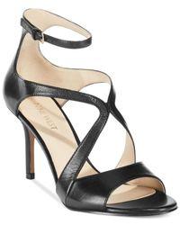 Nine West - Black Gerbera Mid-Heel Dress Sandals - Lyst