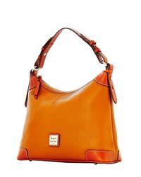 Dooney & Bourke Orange Pebbled Leather Hobo Bag