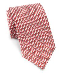 Ferragamo | Red Greyhound Print Silk Tie for Men | Lyst