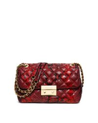 Michael Kors | Red Sloan Large Quilted Embossed-leather Shoulder Bag | Lyst
