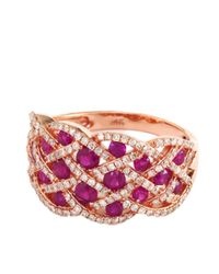 Effy | Red Ruby And Diamond 14k Rose Gold Ring | Lyst