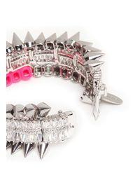Venna | Metallic Crystal Spike Bracelet | Lyst