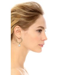 Oscar de la Renta - Metallic Imitation Pearl Pave Hoop Earrings - Lyst