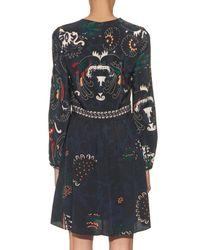 Vanessa Bruno - Black Drove Long-sleeved Printed Silk Dress - Lyst