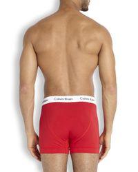 Calvin Klein | Red Cotton Boxer Briefs - Three Pack - Size M for Men | Lyst