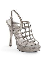 Adrianna Papell | Metallic Maya Embellished Sateen Platform Pumps | Lyst