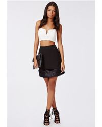 Missguided - Maddiee Crepe Fur Trim Mini Skirt Black - Lyst