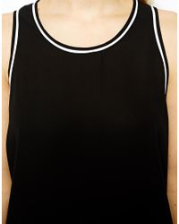 ASOS - Black Vest with Drop Armhole and Contrast Piping - Lyst