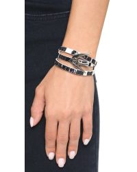 McQ | Swallow Triple Wrap Bracelet - Black/white | Lyst