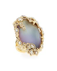 Alexis Bittar - Metallic Crystal Lace Lucite Cocktail Ring - Lyst